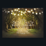 "String of Lights Trees Path Rustic Wedding Invites<br><div class=""desc"">String of lights trees path rustic wedding invites for outdoor wedding inspired by old oaks covered by Spanish moss. Southern country style invitation perfect for dreamers bride and groom who are planning their wedding with trees and string lights embellishments.</div>"