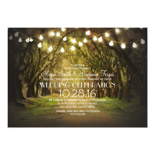 String of Lights Trees Path Rustic Wedding Invites | Zazzle.com