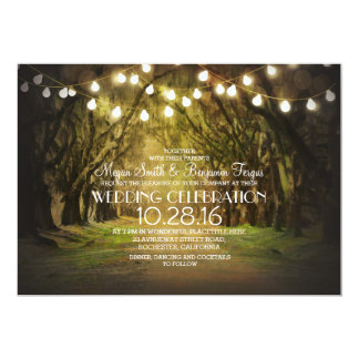 "String of Lights Trees Path Rustic Wedding Invites 5"" X 7"" Invitation Card"