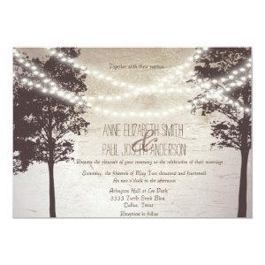 String of lights trees wedding invitations custom invitations