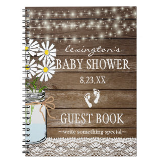String Of Lights White  Baby Shower Guestbook | Notebook