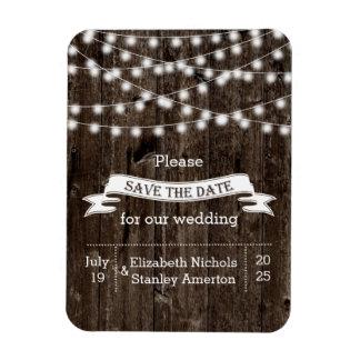 String of lights wood summer wedding Save the Date Rectangular Magnet