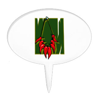string of red peppers green back cake topper