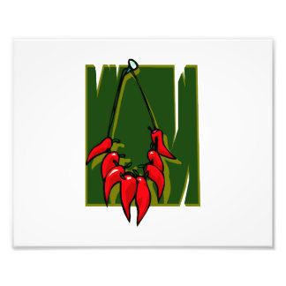string of red peppers green back photo art