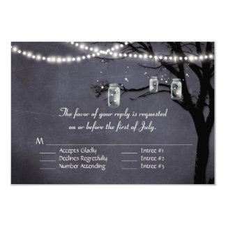 String of Twinkle Lights Rustic Outdoor Night Tree 3.5x5 Paper Invitation Card