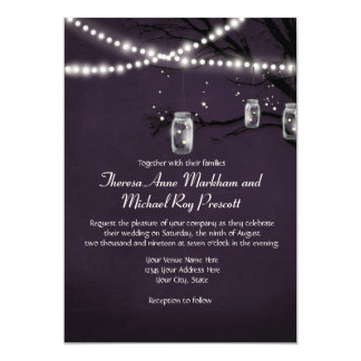 String of Twinkle Lights Rustic Outdoor Night Tree 5x7 Paper Invitation Card