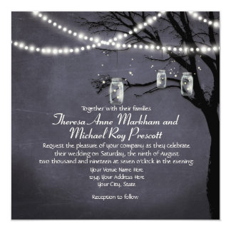 String of Twinkle Lights Rustic Outdoor Night Tree Invitation