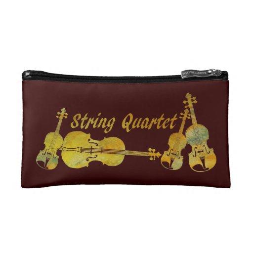 String Quartet in Gold Makeup Bag