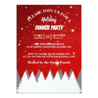String Stars Pines Tree Holiday Party Card