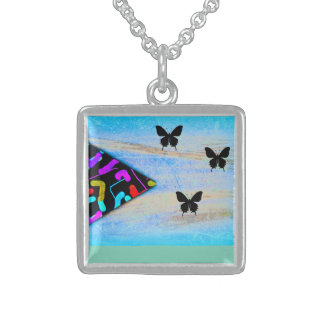 String theory universe square pendant necklace