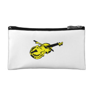 Stringed black yellow instrument violin bow image. cosmetic bags