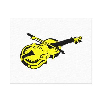 Stringed black yellow instrument violin bow image. canvas print