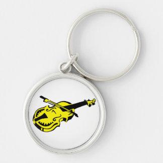 Stringed black yellow instrument violin bow image. keychain