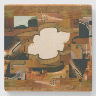 Stringed Instrument Parts Around Lotus Shape Stone Coaster