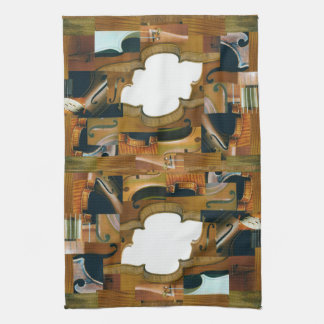 Stringed Instrument Patchwork Look Collage Towel