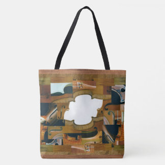 Stringed Instrument Pieces Personal Initial Tote Bag