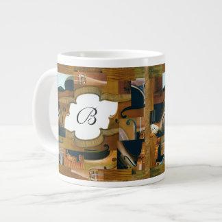 Stringed Instrument Window Custom Initials Large Coffee Mug