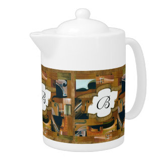 Stringed Instrument Window Custom Initials Teapot