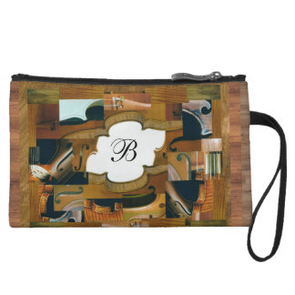 Stringed Instrument Window with Custom Initial Wristlet Wallet
