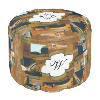 Stringed Instruments Collage Personalized Initials Round Pouf