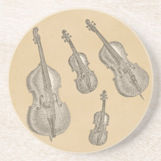 Stringed Instruments Old Line Drawings Drink Coaster
