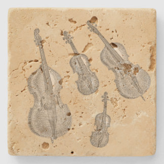 Stringed Instruments Old Line Drawings Stone Coaster