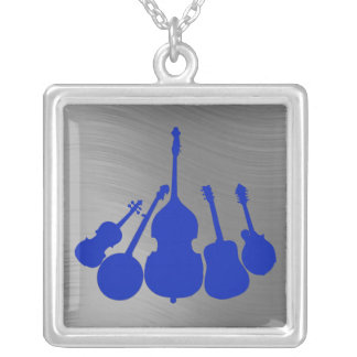 STRINGED MUSIC INSTRUMENTS-NECKLACE SILVER PLATED NECKLACE
