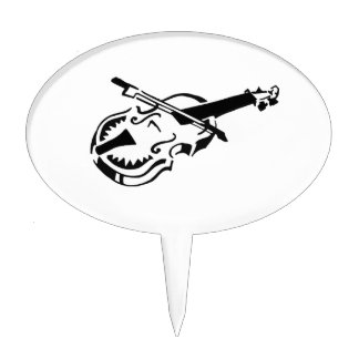 Stringed white instrument violin bow image.png cake topper