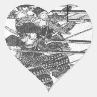 Strings for night firing by Utagawa Kuniyoshi Heart Sticker