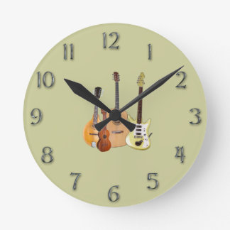Strings-Musical Instruments/faux metal numerals Round Clock