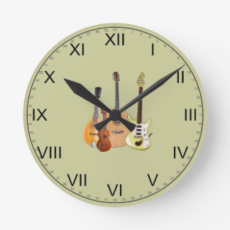 Strings-Musical Instruments Round Clock