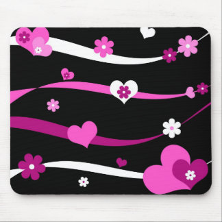 Strings of hearts and flowers mouse pad