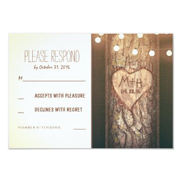 Valentines Themed Strings of Lights Carved Heart Wedding RSVP Cards