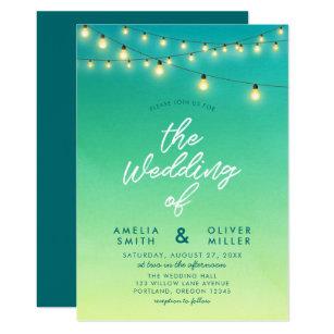 Strings Of Lights Watercolor Sea Glass Wedding Invitation
