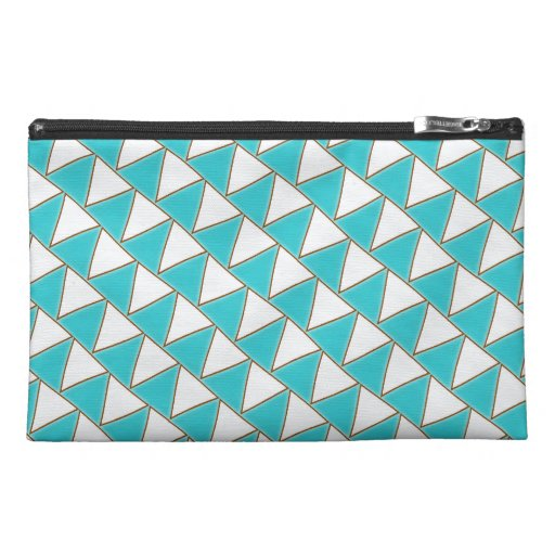 Strings of White Flags Turquoise and White Pattern Travel Accessories Bag