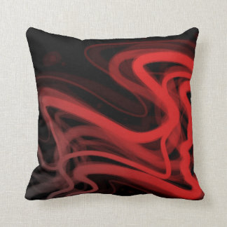 Stringy Red Abstract Throw Pillow