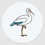 Stringy Stork Classic Round Sticker