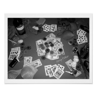 Strip Poker Black and White Poster