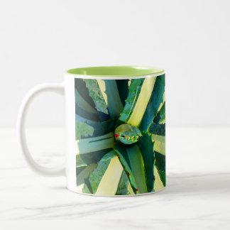 Stripe Agave Americana Succulent Two-Tone Coffee Mug