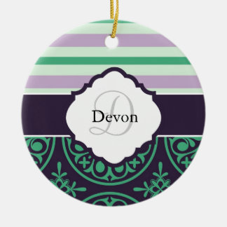 Stripe and Damask Monogram Ornament