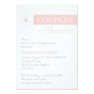 Stripe and flower pink grey wedding couples shower custom announcement