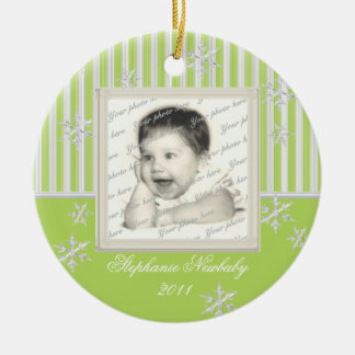 Stripe and Snowflakes Light Green Ceramic Ornament