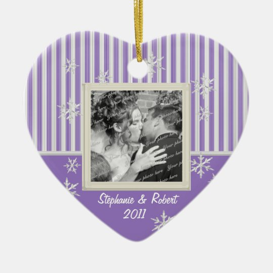 Stripe and Snowflakes Violet Ceramic Ornament
