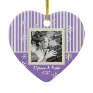 Stripe and Snowflakes Violet ornament
