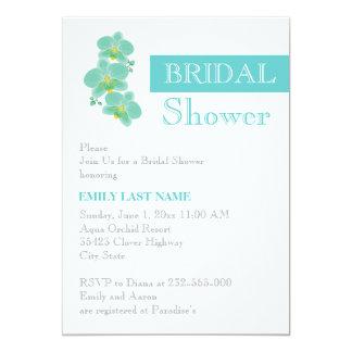 Stripe & aqua blue orchid wedding bridal shower announcements