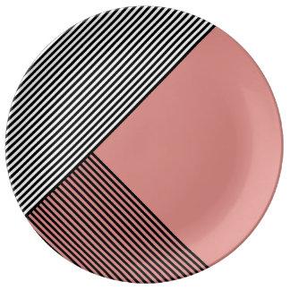 Stripe Art...Choose Your Own Accent Color. Porcelain Plate
