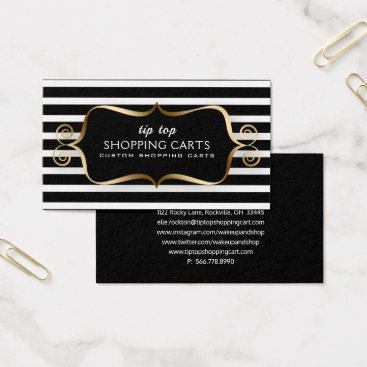 Professional Business Stripe Black White Gold Frame Curly Business Card