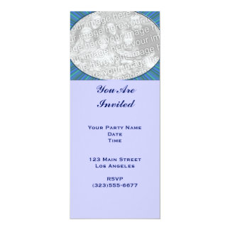 stripe blue frame 4x9.25 paper invitation card