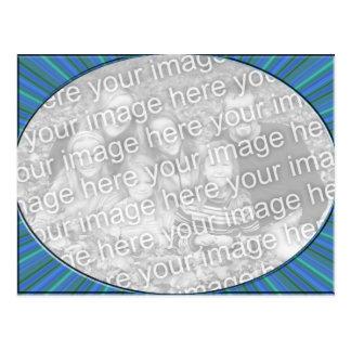 stripe blue frame postcard