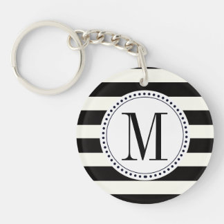 Stripe Bold black and white monogram stripe Keychain